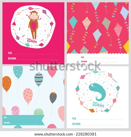 Set of square greeting cards with cute animals, seamless patterns, balloons and wishes. Vector illustration in a cute and cartoon style. Good for holidays design cards or posters. Scrapbooking. - stock vector