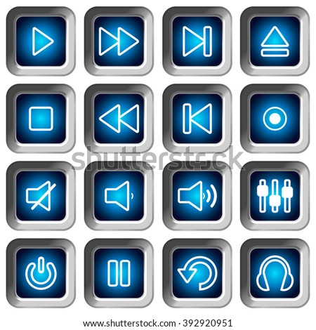 Set of square icons buttons for music video player - stock vector