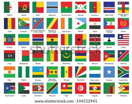 set of square icons with African flags - stock vector