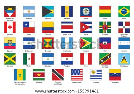set of square icons with flags of Americas - stock vector