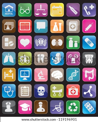 Set of square medical buttons for design - vector icons - stock vector