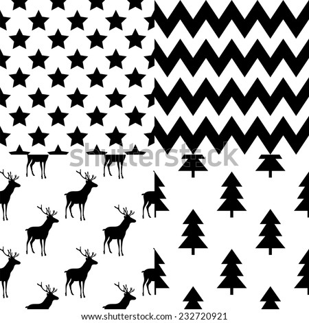 Set of square patterns with Christmas and New Year Typographic Background. Greeting stylish illustration of winter wishes. Good for design, cards or posters. - stock vector