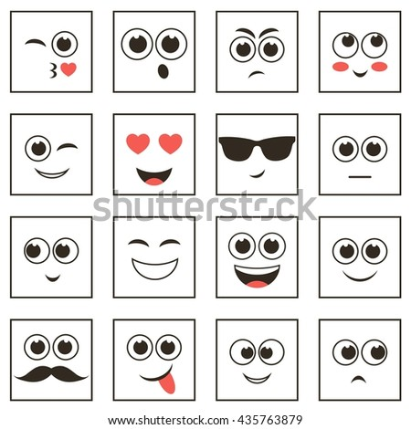 set of square smiley faces - stock vector