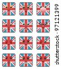 set of square union jack emoticons isolated on white - stock vector