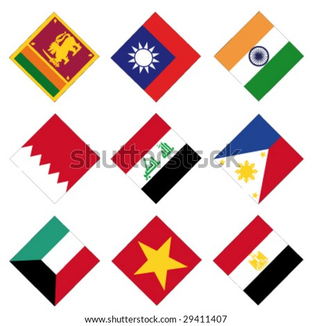 set of 9 square vector flags - stock vector