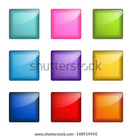 set of square web buttons - stock vector