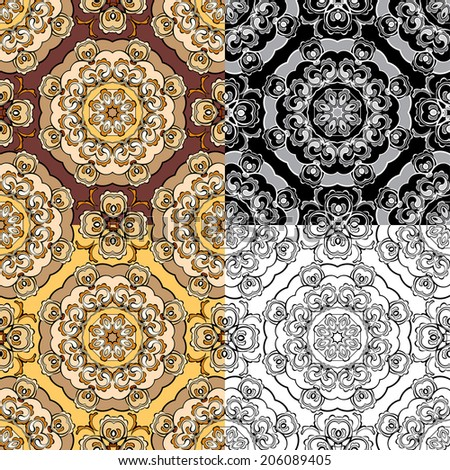 Set of squared backgrounds - ornamental seamless pattern. Design for bandanna, carpet, shawl, pillow or cushion. - stock vector