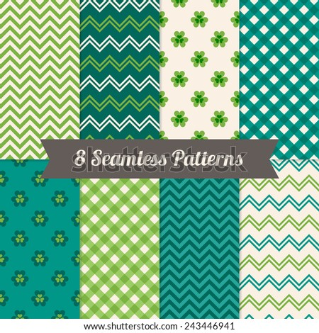 Set of St. Patrick's Day Seamless Patterns with Clover, Chevron and Gingham in Green, Dark Green and White. Perfect for wallpapers, pattern fills, web backgrounds, St. Patrick's Day greeting cards  - stock vector