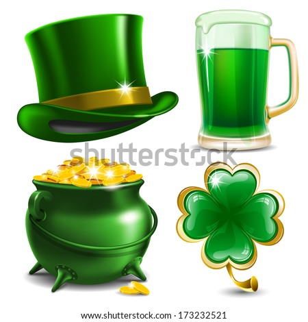 Set of St. Patrick's Day symbols.  Vector illustration - stock vector