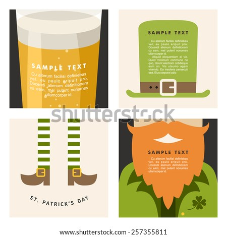 Set of St. Patrick's Day vector illustrations. Vintage holiday badge design - stock vector