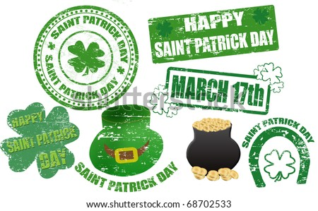 Set of St. Patrick stamps and symbol, vector illustration - stock vector