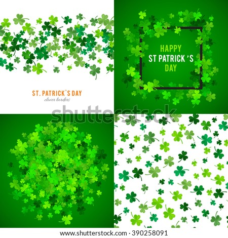 Set of St Patricks Day backgrounds. Vector illustration for lucky spring design with shamrock. Green clover wave border isolated on green background. Ireland symbol pattern. Irish header for web site. - stock vector