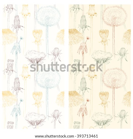 Set of stages of blossoming and withering of dandelion. Isolated Silhouette with flying dandelion buds on white background. Hand drawn vector illustration, realistic sketches. - stock vector