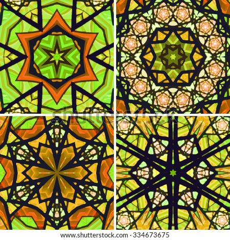 Set of stained glass patterns. Four seamless symmetrical background templates.  Multicolored vivid design element. Bright and beautiful kaleidoscopic texture for design uses - stock vector