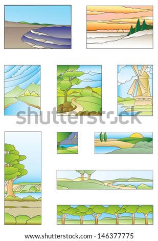 Set of stained-glass windows of nature