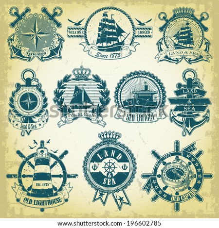 Set of stamp with a nautical theme - stock vector