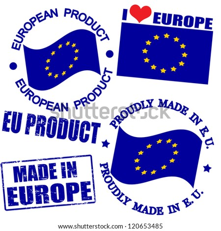 Set of stamps and labels with the text made in Europe written inside - stock vector