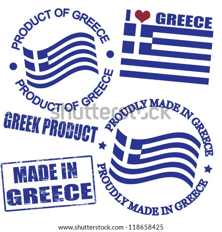 Set of stamps and labels with the text made in Greece written inside - stock vector