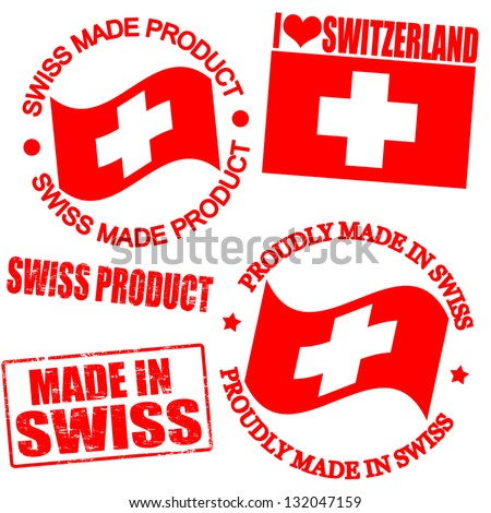 Set of stamps and labels with the text made in Swiss written inside - stock vector