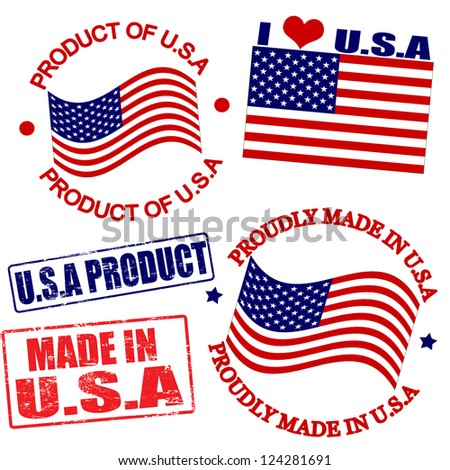 Set of stamps and labels with the text made in USA written inside - stock vector