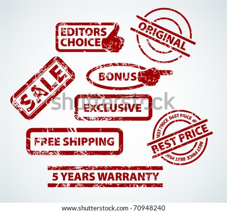 Set of stamps for your eshop - sale, bonus, shipping and more - stock vector