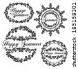 Set of stamps happy summer.  Black and white. Vector Version. - stock
