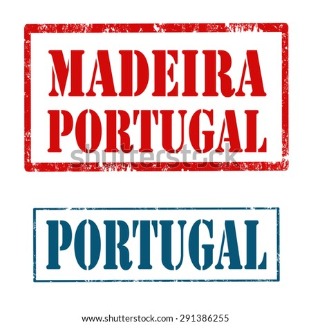 Set of stamps with text Portugal and Madeira-Portugal,vector illustration - stock vector