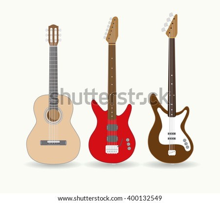 Set of standalone guitars. Vector illustration