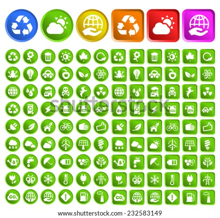 Set of Standard Quality Ecology Icons with Circular and Square Colored Buttons on White Background. - stock vector
