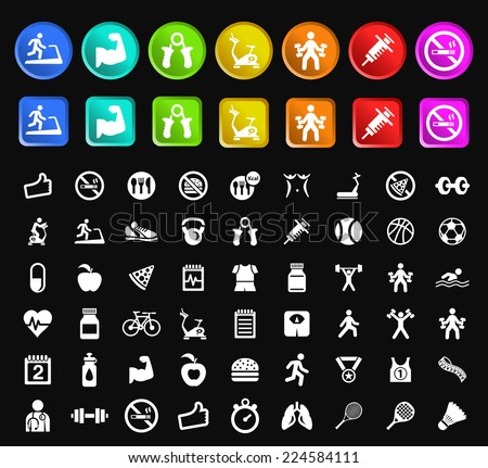 Set of Standard Quality Fitness Icons with Square and Circular Colored Buttons on Black Background. - stock vector