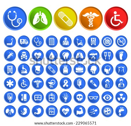 Set of 50 Standard Quality Medical Icons with Circular Colored Buttons on White Background.