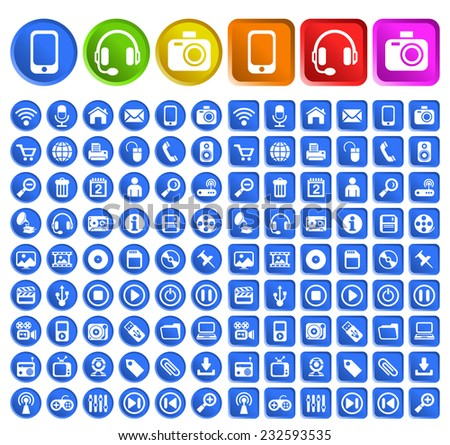 Set of Standard Quality Multimedia Icons with Circular and Square Colored Buttons on White Background. - stock vector