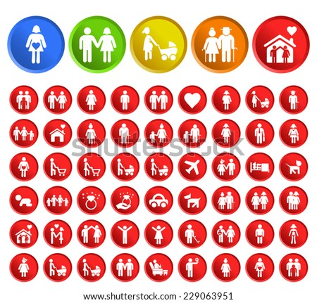 Set of 50 Standard Quality People Icons with Circular Colored Buttons on White Background.
