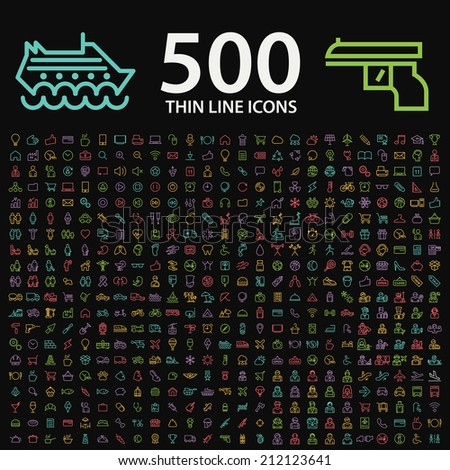 Set of 350 Standard Universal Minimal Modern Thin Stroke Color Neon Icons on Black Background. - stock vector