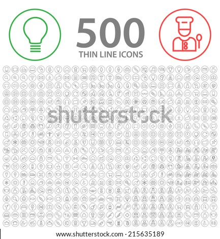 Set of 500 Standard Universal Minimalistic Elegant Modern Quality Thin Stroke Black Icons on Circular Buttons  on White Background Buttons. - stock vector