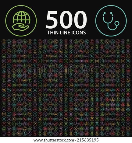 Set of 500 Standard Universal Minimalistic Elegant Modern Thin Stroke Color Neon Icons on Circular Buttons on Black Background Buttons. - stock vector