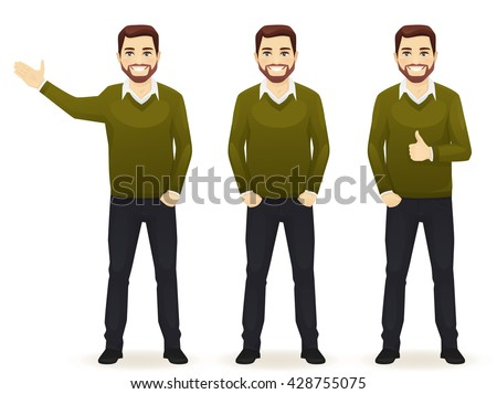 Set of standing business men in different poses wearing casual clothes isolated. Thumbing up, showing and with hands in pocket. - stock vector