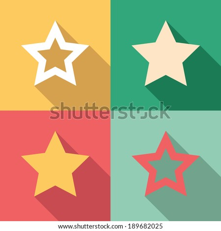 Set of star icons in colorful vintage colors - stock vector