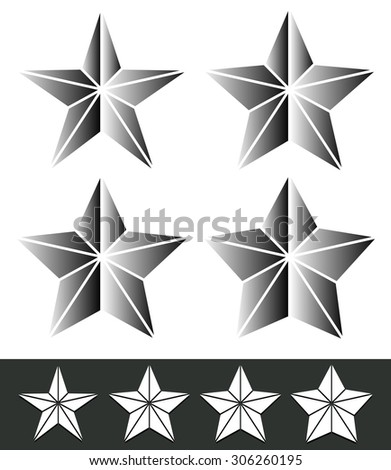 Set of star shapes with different thickness. Black and white (grayscale) version. - stock vector