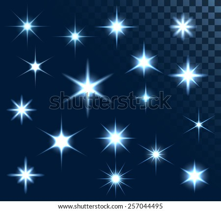 Set of stars and sparkles, collection of design elements, on transparent background, EPS 10 - stock vector