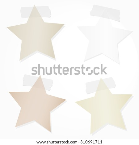 Set of stars note paper with sticky, adhesive tape on white background