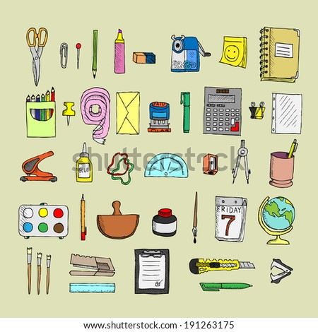 Set  of stationery. Doodle. Isolated. Vector. - stock vector