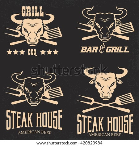 Set Steak House Emblems Templates Grill Stock Vector 420823984 ...