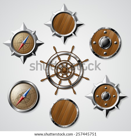 Set of Steel and Wooden Nautical elements isolated on white - compasses, steering wheel and shields. Detailed vector illustration.  - stock vector