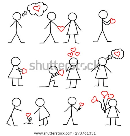 Set of stick figure in love with hearts - stock vector