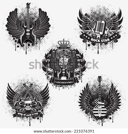 Set of sticker on the shirt the image of a guitar of wings - stock vector