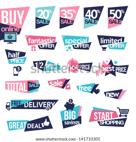 Set of stickers and badges for sale - stock vector