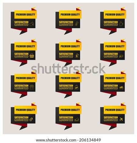 Set of stickers and banners with shopping icon. - stock vector