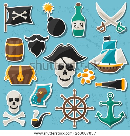 Set of stickers and objects on pirate theme. - stock vector