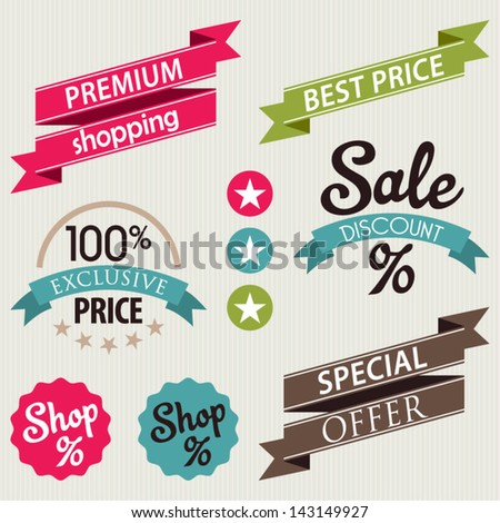set stickers ribbons discount sale badge stock vector royalty free